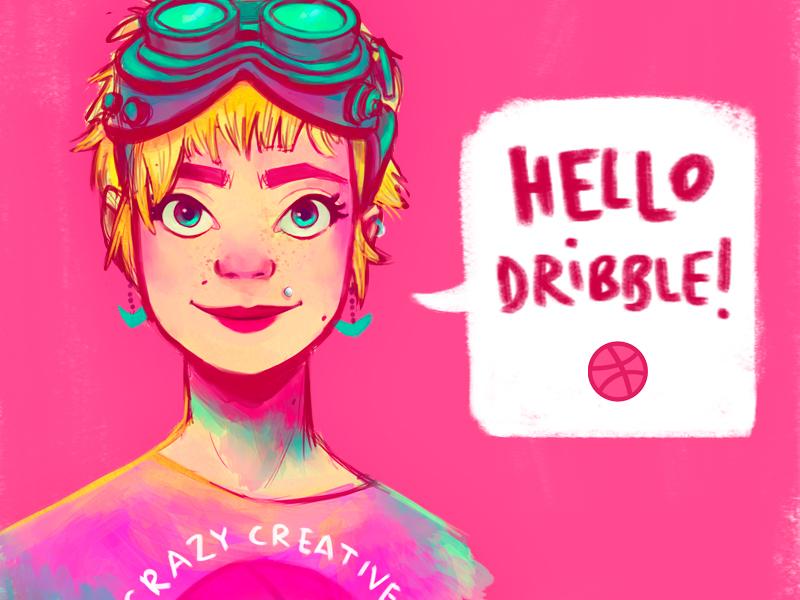 Hello Dribble! intuos adobe photoshop dribble hello neon cintiq wacom digital illustration