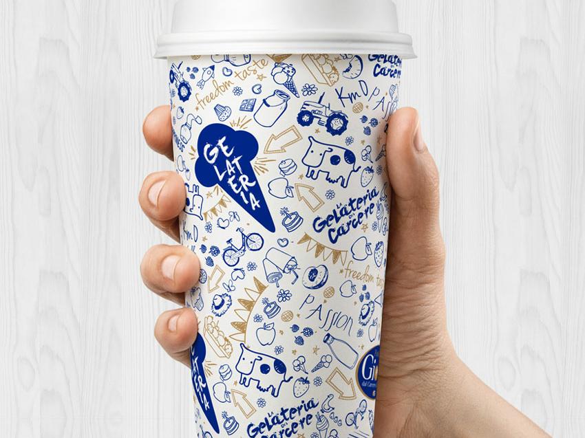 Giotto Ice Cream Shop | Packaging 05 brandid milkshake ice cream shop ice cream gold blue logo identity icon design branding illustration vector illustrator adobe graphic design