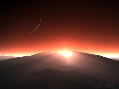 The Time We First Met moon sunrays sunset sunrise isosurface volumetrics procedural fractal celestial exoplanet fantasyart fantasy scifiart scifi spaceart space 3dart digitalart spacescape mojoworld