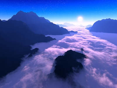 Celestia mountains sunset sunrise clouds isosurface volumetrics procedural fractal celestial exoplanet fantasyart fantasy scifiart scifi spaceart space 3dart digitalart spacescape mojoworld