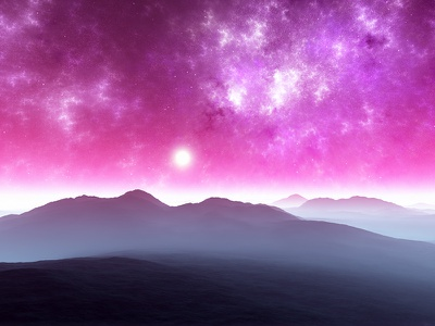 Lauren sunset sunrise mountains nebula stars planets procedural fractal celestial exoplanet fantasyart fantasy scifiart scifi spaceart space 3dart digitalart spacescape mojoworld