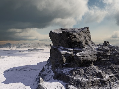 Cold Heights clouds rocky cliffs mountains isosurface volumetrics procedural fractal celestial exoplanet fantasyart fantasy scifiart scifi spaceart space 3dart digitalart spacescape mojoworld