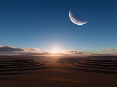 Dreamer's Dream bluesky alien steps moon isosurface volumetrics procedural fractal celestial exoplanet fantasyart fantasy scifiart scifi spaceart space 3dart digitalart spacescape mojoworld