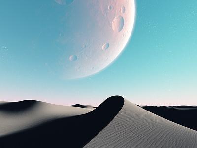 Harena - Absent Presence craters sand dunes desert moon planets procedural fractal celestial exoplanet fantasyart fantasy scifiart scifi spaceart space 3dart digitalart spacescape mojoworld