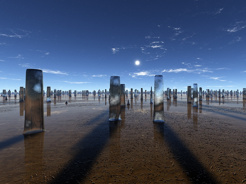 The Fallen monuments reflections sunset sunrise stars planets procedural fractal celestial exoplanet fantasyart fantasy scifiart scifi spaceart space 3dart digitalart spacescape mojoworld