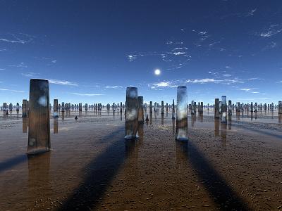 The Fallen monuments reflections sunset sunrise stars planets procedural fractal celestial exoplanet fantasyart fantasy scifiart scifi spaceart space 3dart digitalart spacescape mojoworld