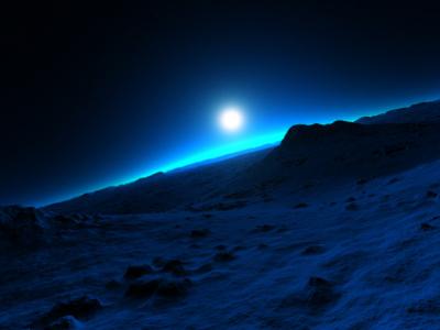 Transcendent Sequences I blue desert sunset sunrise planets procedural fractal celestial exoplanet fantasyart fantasy scifiart scifi spaceart space 3dart digitalart spacescape mojoworld