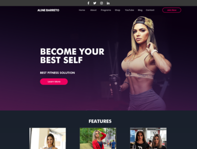 Aline Barreto - Website template Design #UI5 website illustration fitness creativerafat block chain ui