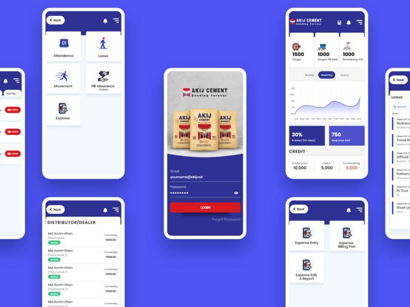 Akij Cement app design illustration sales dashboard akij cement akij group maxrafat adobe xd creativerafat ui sales page apps android ios erp sales