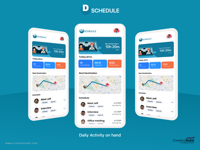 Daily Scheduling on hand android app ios maxrafat ux ui adobe xd creativerafat activity scheduler
