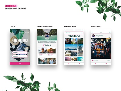 Abroad UI Screens app vacation abroad design ui travel
