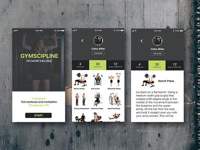 Gymscipline app ui fitness workout gym