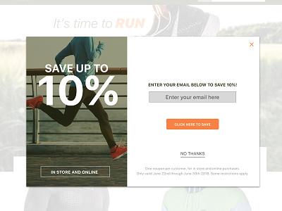 Run Modal website online store sale discount save running design ux ui modal run