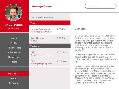 Message Center website design payroll message email web ux ui