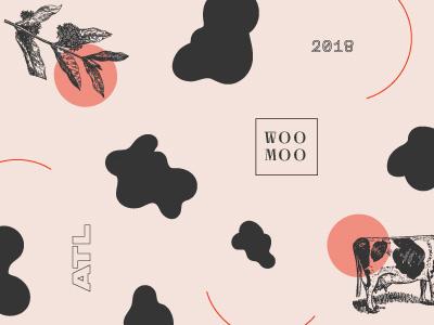 Woo Moo atlanta illustration orange dairy butcher vintage pattern