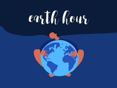 Dear Earth Hour blue woman planet earth planet hour earth day earth design sustainability enviroment awareness illustration