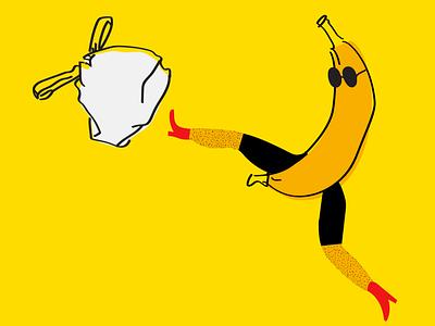 Shameless Banana fun shameless plastic bag plastic comics yellow sustainability sustainable enviroment awareness bananas banana illustration