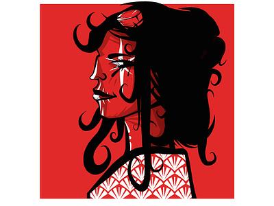 Hellgirl portrait girl red hero novel comic art painting vector sketch flat drawing graphic design illustration graphic  design