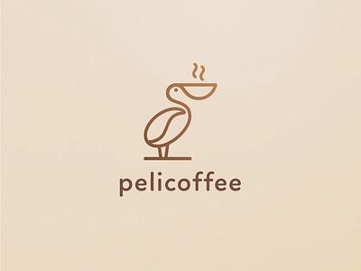 Pelicoffee abstract esense lines logocoffee coffee logomark simple minimal creative logodesigner mark symbol logodesign logo