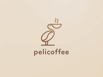 Pelicoffee abstract esense lines logocoffee coffee logomark simple minimal creative logodesigner mark symbol logodesign logo