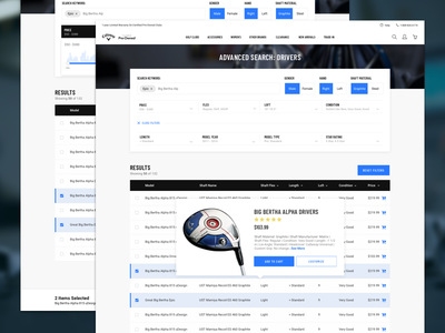 Callaway Golf Pre-Owned Redesign responsive table results search advanced search website new callaway golf ui ux redesign