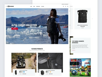 OGIO Redesign store home page branding visual design redesign shopping backpacks commerce ecommerce ui ux