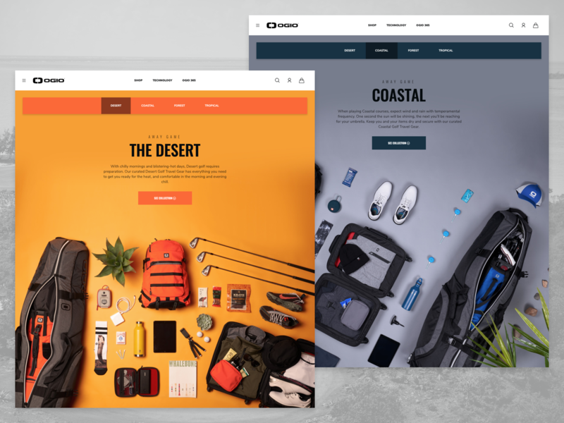 OGIO Golf Travel Landing Page e-commerce backpacks marketing campaign web design ogio travel golf landing page ux ui