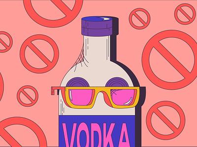 Cool Guy Vodka cocktail spirits booze vector illustration cool cool dude vodka