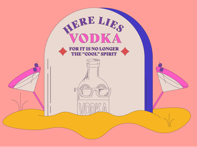 Here Lies Vodka vector illustration vinepair rum tequila spirits booze drinks martini cocktail alcohol tombstone vodka