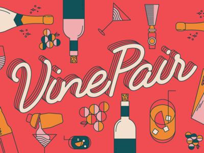 VinePair Rebrand cocktail martini spirits liquor booze wine beer line work illustration icons rebrand vinepair