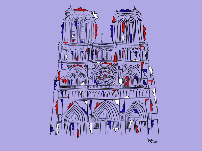Notre Dame illustration fire france paris notre dame