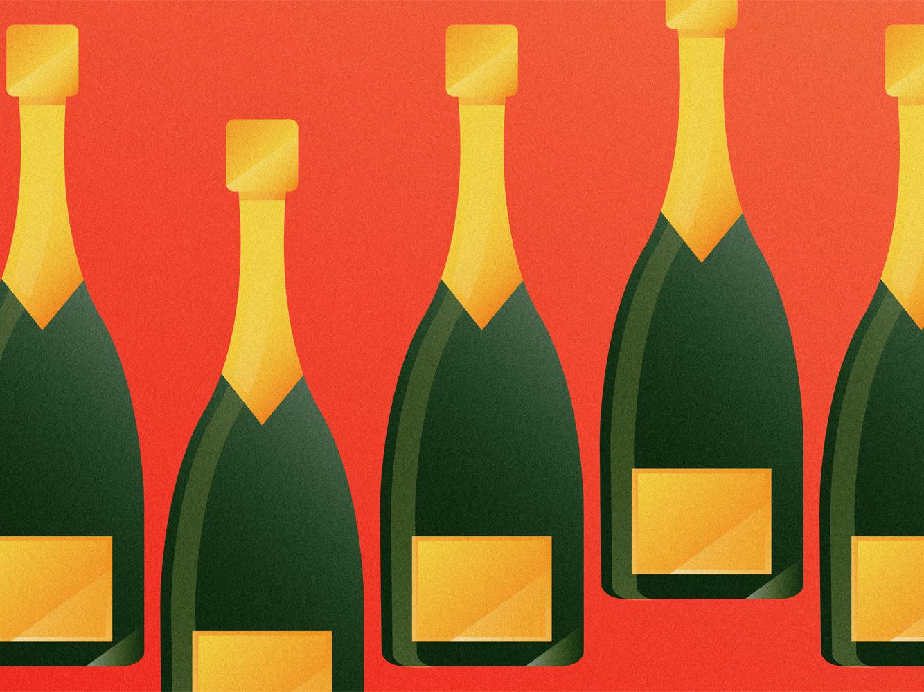 Champagne illustration bubbles booze prosecco wine bubbly champagne