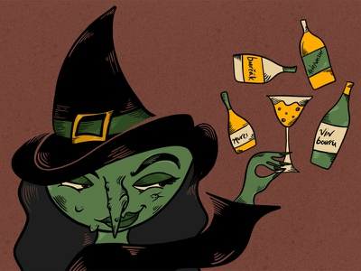 Wicked Juice ipadpro illustration apple pencil ipad procreate spooky halloween eastern europe booze wine winery alcohol wicked witch