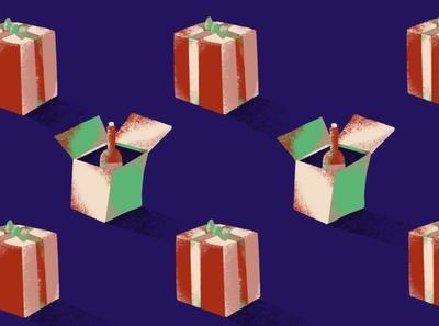 Gifting Some Wine ipadpro ipad applepencil procreate winter hanukkah holidays christmas box wine present gift