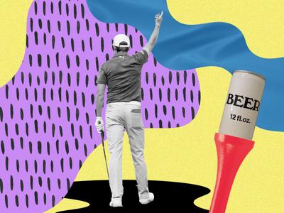 Golfing 4 Beer beer illustration photoshop collage golf