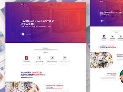 Agency based design studio landing interface agency landing page design color  design elegant design ux ui