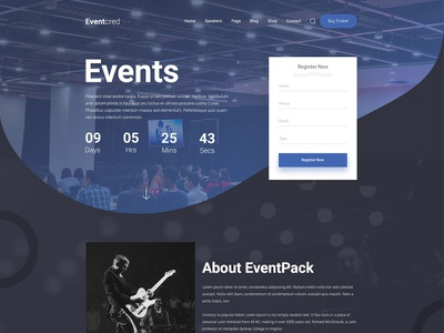 Eventcred - A Creative Event PSD Template event landing page modern event template website design agency design dribbble best shot event sneakpeek event home page webdesign workshop meetup meeting event website event tickets event management event creative corporate event conference management conference