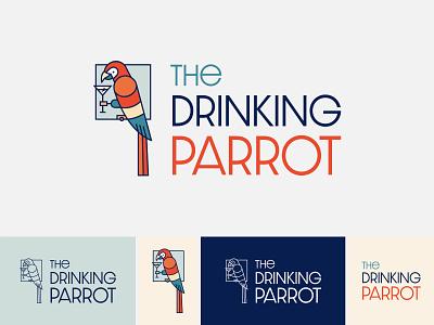 The Drinking Parrot Logo brand design logo design flat vector-illustration illustrator illustration design vector branding brand logo parrots parrot logo bar parrot
