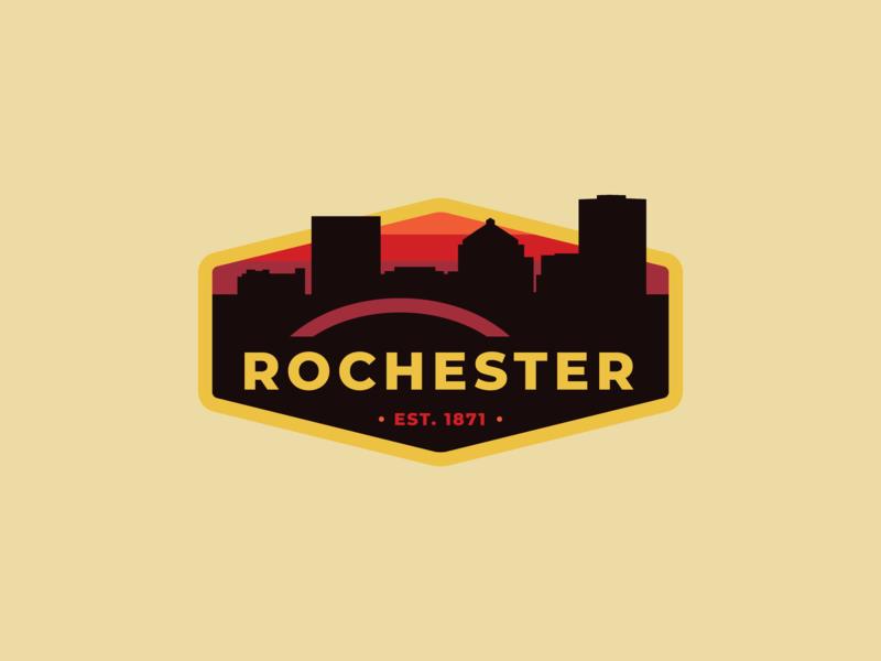 Rochester Badge v.1 rochester vector-illustration brand illustrator branding vector logodesign design badge logo logo vintage badge city badge badge
