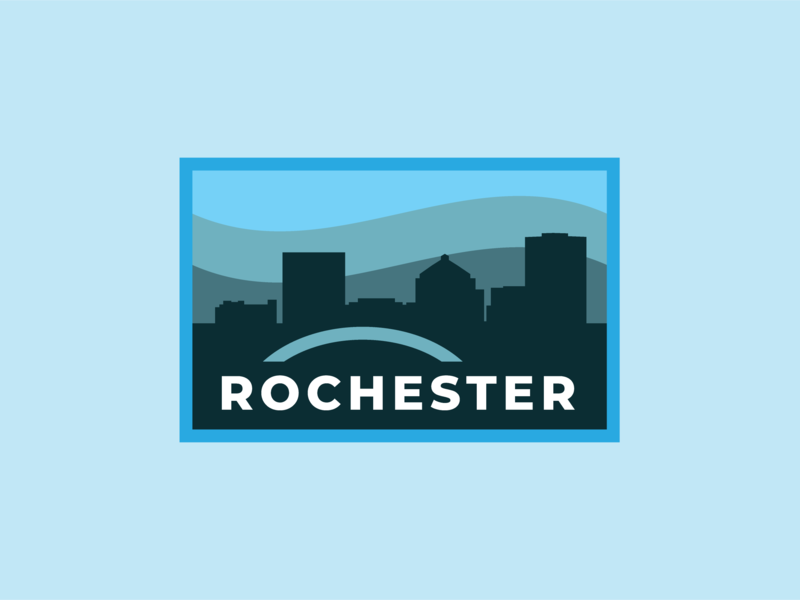 Rochester Badge v.3 cityscape vector vintage badge design badgedesign badge design badge logo badge rochester