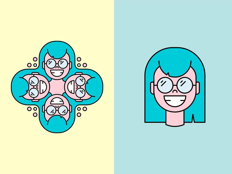 Glasses Girl digital illustration vector-illustration illustrator icon illustration vector design