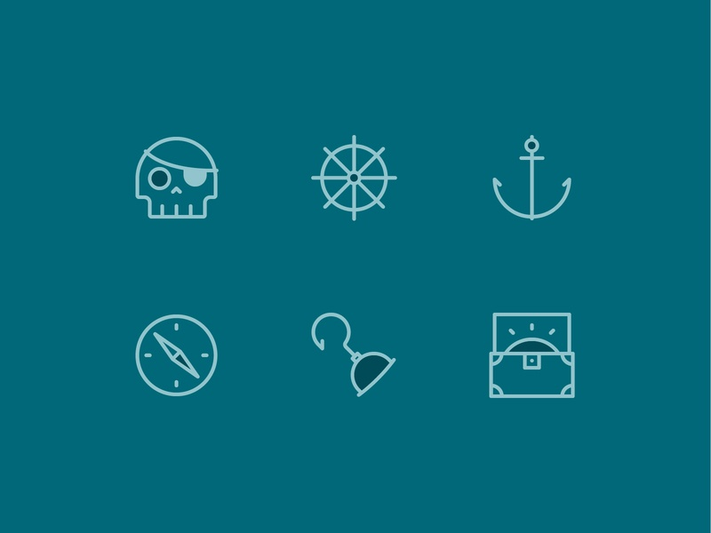 Ahoy Matey! Mini Icon Set line icons ui vector-illustration illustrator illustration vector design pirates icons pack icons design iconography icon design icon set icons icon