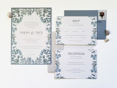 Eucalyptus Wedding Suite print design wedding design wedding invitation digital illustration illustrator illustration