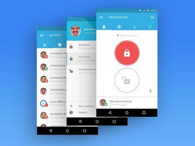 Lockitron Android App android app ui mobile interface app android