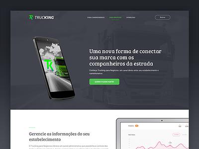 Trucking Landing Page web design landing page web interface ui app