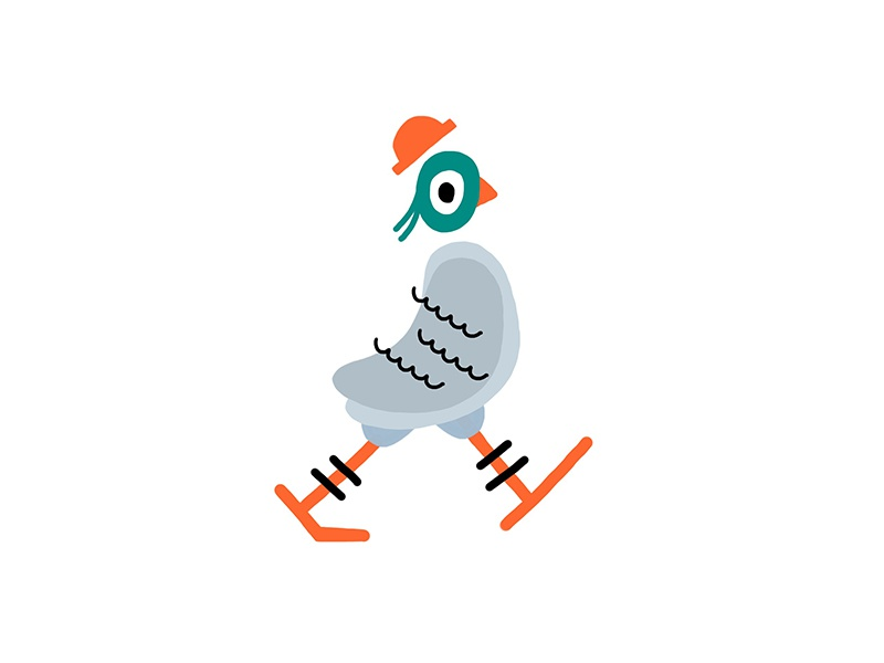 Illustration - Vinnie the pigeon johnny self painting brooklyn design fashion. new york ipad vector animal bird pigeon illustration