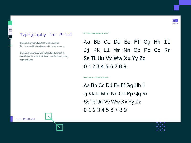 2018 Synapse Styleguide : Typography by Annie Wang for