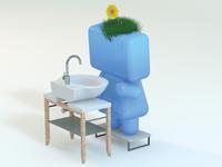 Character Washing Hands