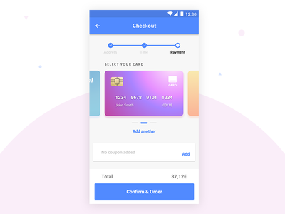 Checkout App View 🛍 payment gradients card cards androidapp design materialdesign material android app check-out checkout