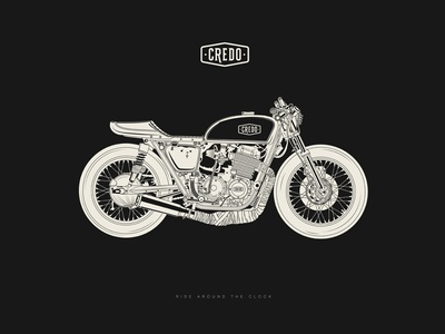 Credo Custom Motorcycles bike cafe racer motorcyle motorbike vector branding illustration logo